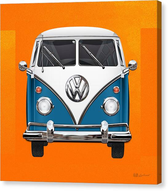 Automobiles Canvas Print - Volkswagen Type 2 - Blue And White Volkswagen T 1 Samba Bus Over Orange Canvas  by Serge Averbukh