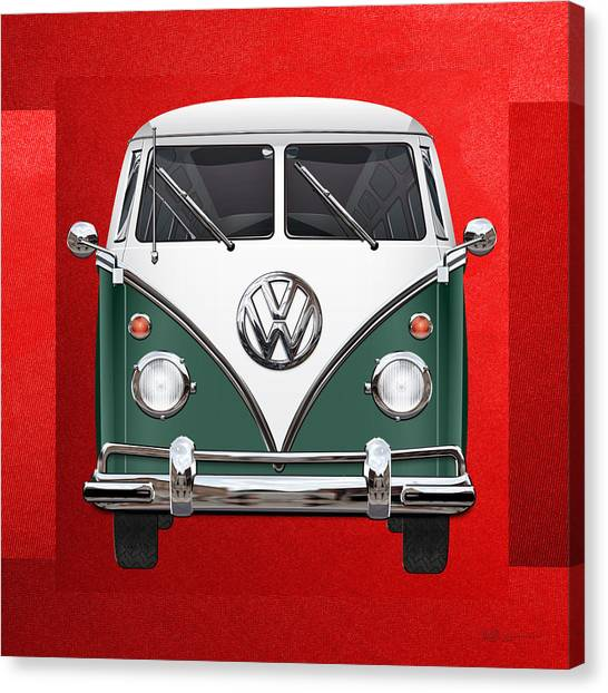 Automobiles Canvas Print - Volkswagen Type 2 - Green And White Volkswagen T 1 Samba Bus Over Red Canvas  by Serge Averbukh