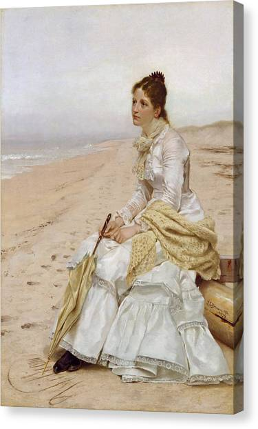 Wedding Bouquet Canvas Print - Waiting For William by John George Brown