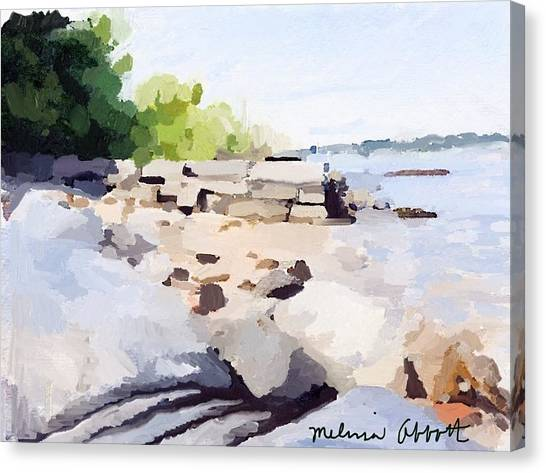 Wall And Beach At Ten Pound Island Canvas Print