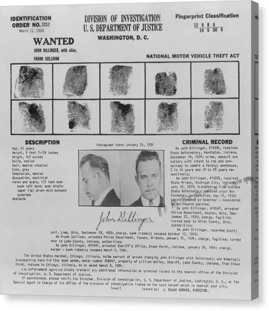 Fbi Canvas Print - Wanted Poster For John Dillinger by Everett