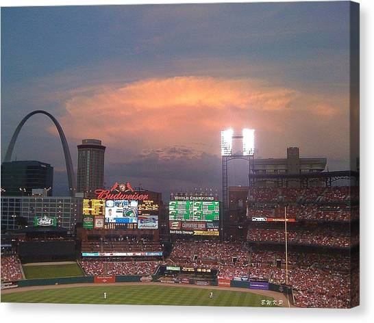 Warm Glow Over St. Louis Arch And Stadium Canvas Print