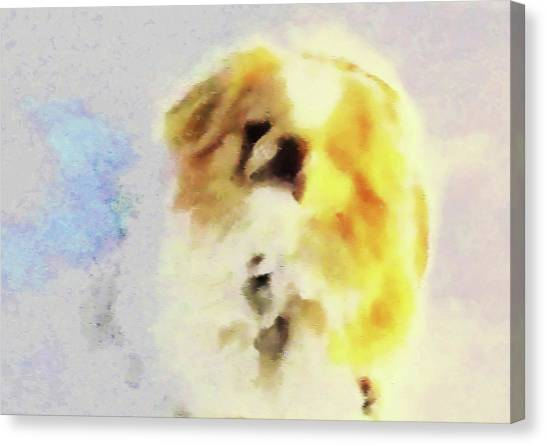 Canvas Print featuring the photograph Wasabi, Dog Painted. by Roger Bester