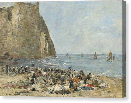 Etretat Canvas Print - Washerwomen On The Beach Of Etretat by Eugene Boudin