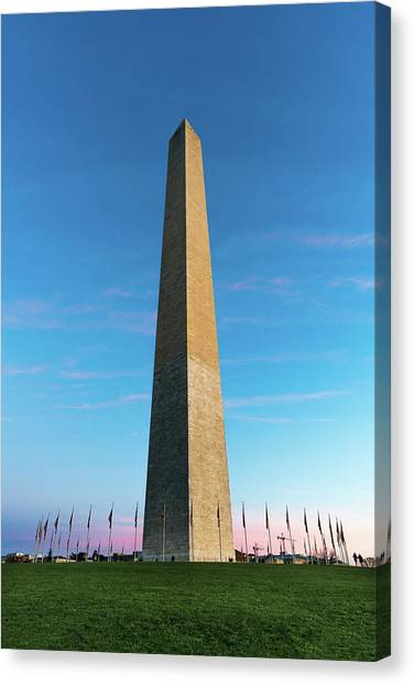 Lincoln Memorial Canvas Print - Washington Monument  by Larry Marshall