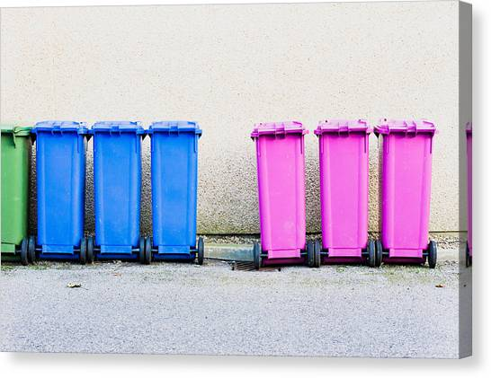 Rubbish Bin Canvas Print - Waste Bins by Tom Gowanlock