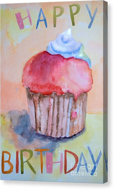 Watercolor Illustration Of Cake  Canvas Print
