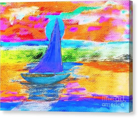 Watercolor Sailing Canvas Print