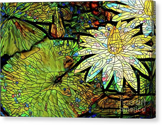 Tropical Stain Glass Canvas Print - Waterlilies 9 by Amy Cicconi