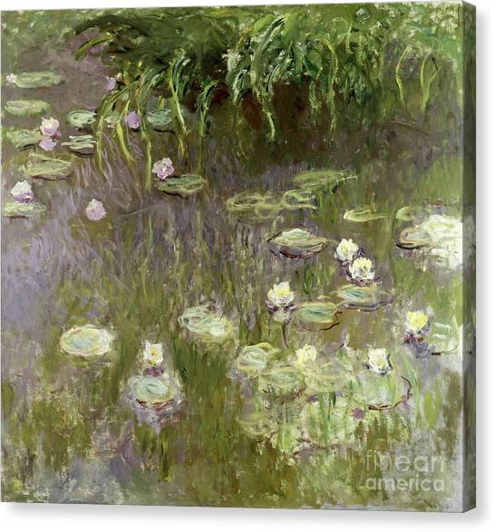 Lily Pond Canvas Print - Waterlilies At Midday by Claude Monet