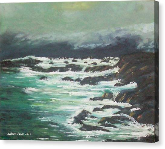 Waves In The Cove Canvas Print by Allison Prior