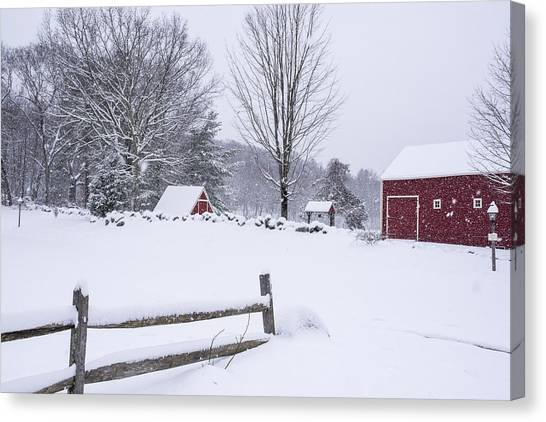 Sudbury Ma Canvas Print - Wayside Inn Grist Mill Covered In Snow Storm by Toby McGuire