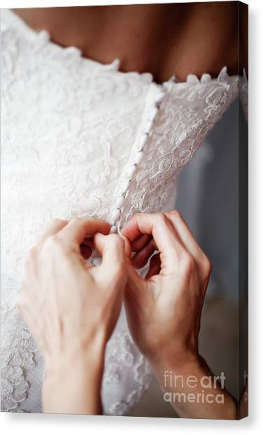 Wedding Gown Canvas Print - Wedding Day by Kati Finell
