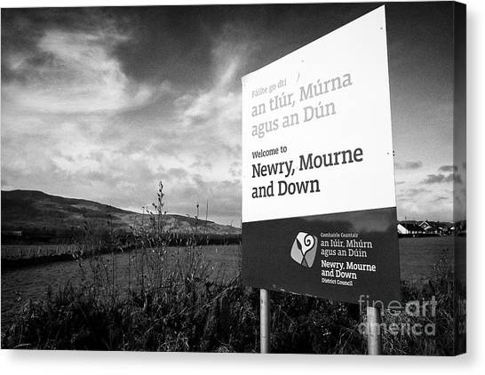Brexit Canvas Print - Welcome To Newry Mourne And Down District Council Sign On The Irish Border by Joe Fox