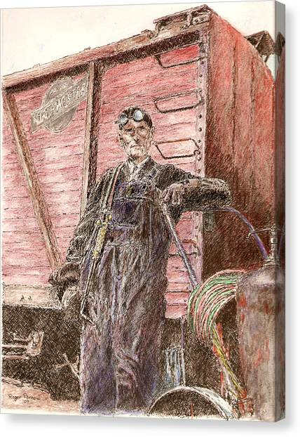 Welder Canvas Print by Roger Parnow