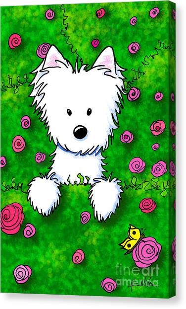 Westie In Roses Canvas Print