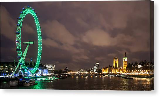 London Eye Canvas Print - Westminster And The London Eye by Dawn OConnor