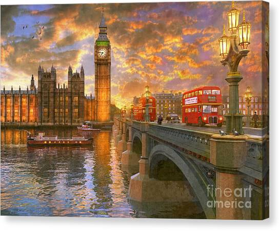 Parliament Canvas Print - Westminster Sunset by Dominic Davison