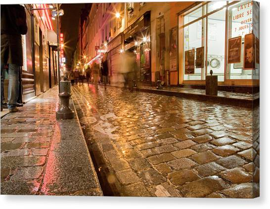 Wet Paris Street Canvas Print