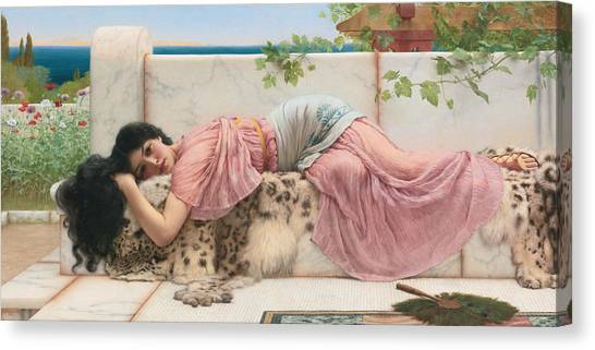 Pre-raphaelite Art Canvas Print - When The Heart Is Young by John William Godward
