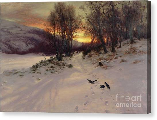 Blackbirds Canvas Print - When The West With Evening Glows by Joseph Farquharson