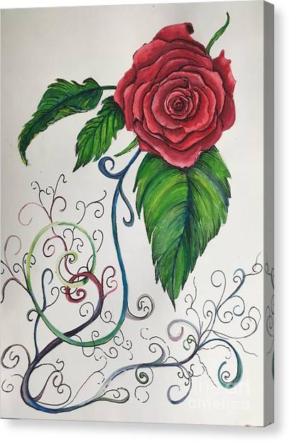 Whimsical Red Rose Canvas Print