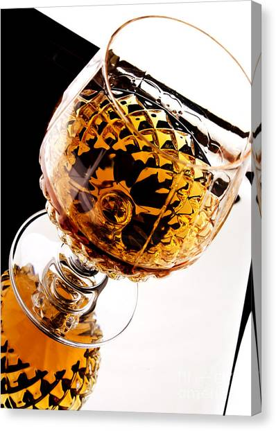 Rum Canvas Print - Whiskey In Glass by Blink Images