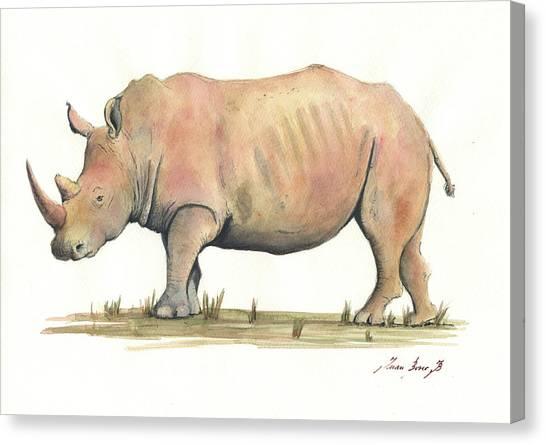 Rhinos Canvas Print - White Rhino by Juan Bosco