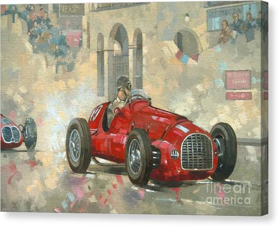 Racecar Drivers Canvas Print - Whitehead's Ferrari Passing The Pavillion - Jersey by Peter Miller