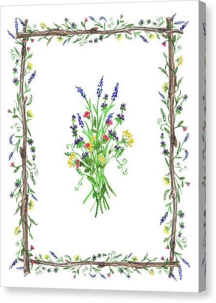 Wedding Bouquet Canvas Print - Wild Flowers Decorative Watercolor by Irina Sztukowski