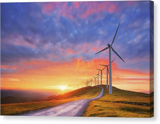 wind turbines in Oiz eolic park Canvas Print
