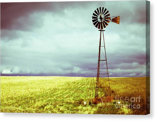 Storms Canvas Print - Windmill Against Autumn Sky by Gordon Wood
