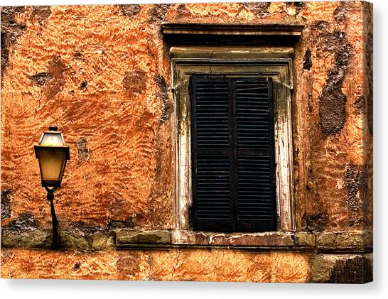 Window And Lamp Rome Italy Canvas Print by Xavier Cardell