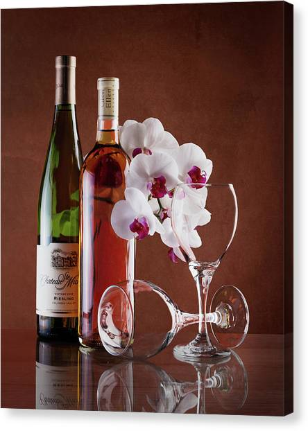 Orchid Canvas Print - Wine And Orchids Still Life by Tom Mc Nemar