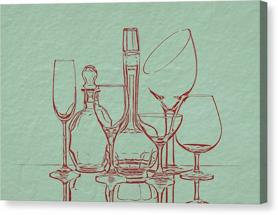 Flutes Canvas Print - Wine Decanters With Glasses by Tom Mc Nemar