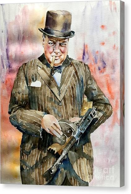 Old World Canvas Print - Winston Churchill Portrait by Suzann's Art