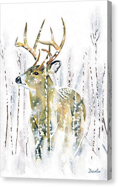 White-tailed Canvas Print - Winter Deer by Antony Galbraith