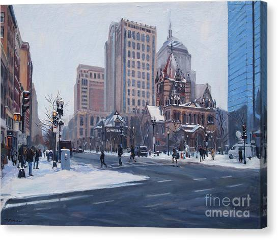 Winter In Copley Square, Boston Ma Canvas Print