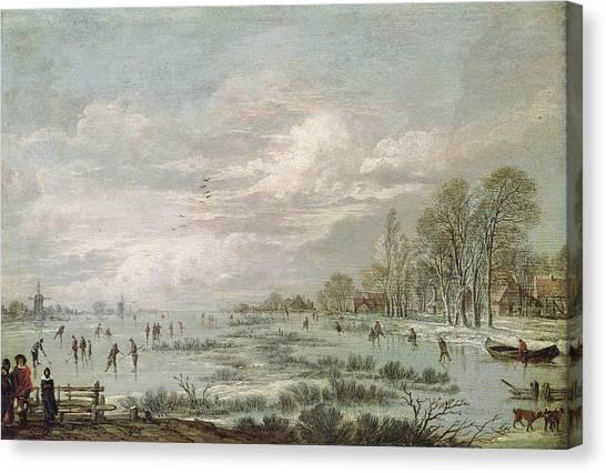 Hockey Games Canvas Print - Winter Landscape by Aert van der Neer