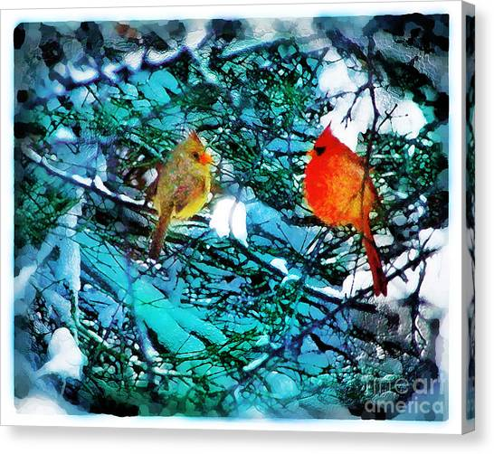 Winter Love Canvas Print by Gina Signore