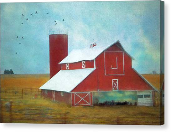 Winter Red Barn Canvas Print
