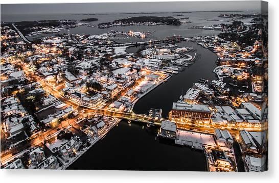 Winter Twilight In Mystic Connecticut Canvas Print