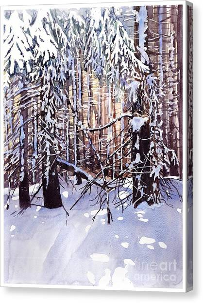 Snowflakes Canvas Print - Wintertime Painting by Suzann's Art