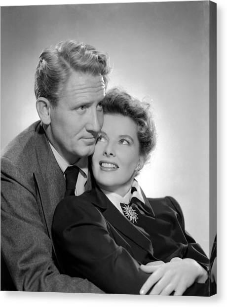1945 Movies Canvas Print - Without Love, Spencer Tracy, Katharine by Everett