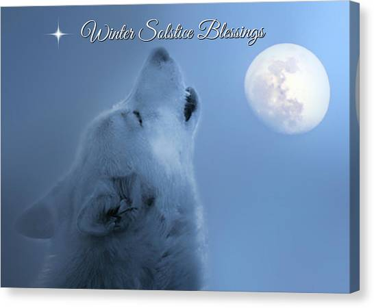 Howling Wolves Canvas Print - Wolf Winter Solstice Blessings by Stephanie Laird