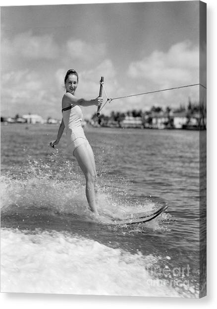 Water Skis Canvas Print - Woman Water Skiing by H. Armstrong Roberts/ClassicStock