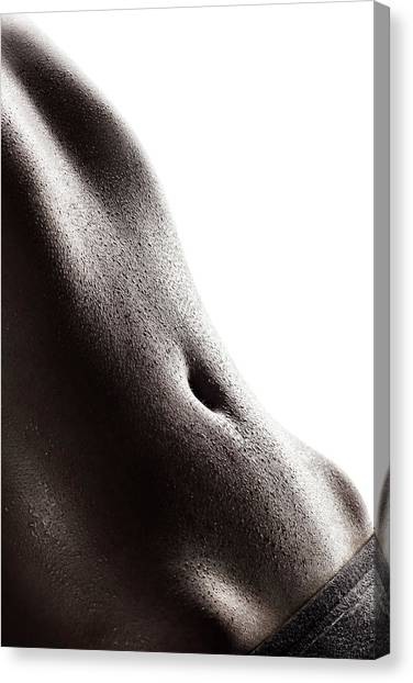 Workout Canvas Print - Woman's Abdomen Full Of Sweat by Johan Swanepoel