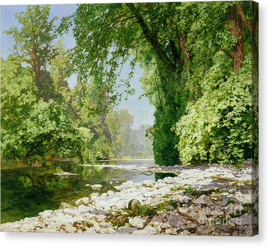 Overhang Canvas Print - Wooded Riverscape by Leopold Rolhaug
