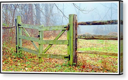 Wooden Fence On A Foggy Morning Canvas Print
