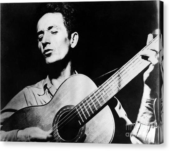 Folk Singer Canvas Print - Woody Guthrie (1912-1967) by Granger